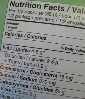 eticheta unui produs alimentar